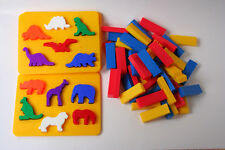 Colorful animal puzzles and plastic blocks - Play doh molds or Angry Birds