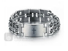 Men's Cross Spanish Lord's Prayer Stainless Steel Bracelet Bangle - USA Seller