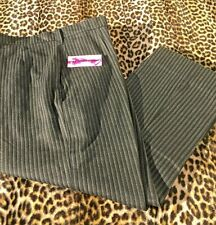 French 1930s Peasant Winter Slacks Pants~Black & Gray Stripes~New/Old Stock~W:38