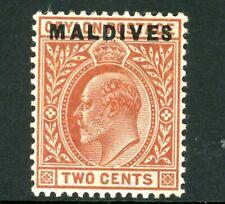 Edward VII Ceylon 2c Red-Brown stamp with Maldives overprint (SG1) 1906 mint