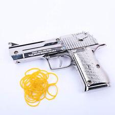 Silver Rubber Band Gun Foldable Metal Exquisite Desert Eagle Pistol Shape