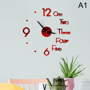 3D Mirror Wall Clock Modern Design Creative Acrylic Quartz Wall Clocks Stick TM