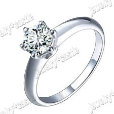 Jewelry Sterling Silver Gemstone Ring Hot Round 6mm Flawless Cubic Zirconia Fine