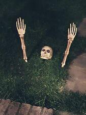 Halloween 3pcs Skeleton Ground Breaker Garden Prop Grave Decoration Escape Grass