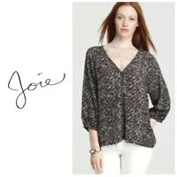 JOIE Robin Feather Print Silk Blouse Top Size Small