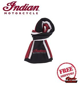 GENUINE INDIAN MOTORCYCLE BRAND MERINO WOOL SCARF BLACK / RED / WHITE NEW