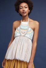 NEW Floreat Anthropologie Itzel Embroidered Halter Top Shirt Blouse Size Sz 8