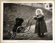 11x14 PRINT: CHILD w FUR HAT PUSHES PET DOG IN CARRIAGE JESSIE TARBOX BEALS 1912