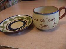 OLD VINTAGE WATCOMBE TORQUAY studio ART MOTTO POTTERY WARE tea CUP & SAUCER