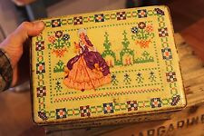 Vintage Large Milady Toffee Tin – Colourful Tapestry / Cross-Stitch Design –