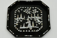 20th Chinese MOTHER OF PEARL INLAY Inlaid Lacquerware Tea Tray 螺钿漆器是