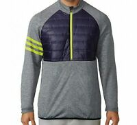 $125 Adidas Golf Men's XL Climaheat Competition Quilted 1/2 Zip Jacket Navy Grey