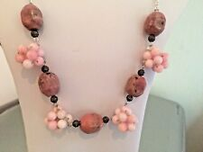 "23"" Necklace with Dyed Quartzite Beady Beads & Rhodonite Cuboid Nuggets"