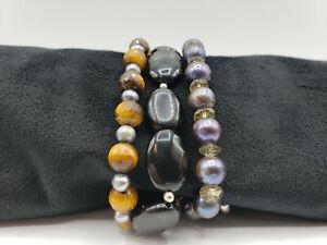 GORGEOUS Bracelet w/ Sterling Silver, Tiger's Eye, Tahitian Pearls, Black Onyx