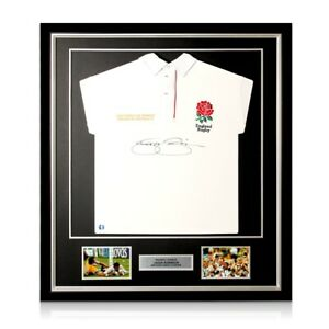 Jason Robinson Signed England Rugby Jersey. Deluxe Frame