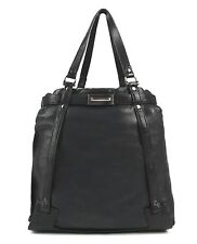 "LANVIN ""KANSAS"" BLACK LEATHER LARGE HOBO TOTE SHOPPER BAG PURSE w/ POUCH WALLET"