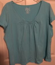 Women's Plus Size 2X 22/24W FASHION BUG Light Blue Casual Top Short Sleeve