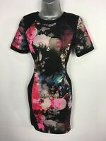 WOMENS RIVER ISLAND BLACK PINK MIX FLORAL SHORT SLEEVE BODYCON PARTY DRESS UK 10
