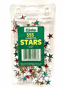 Eureka 555 Gummed Foil Stars Stickers Red Green Silver Gold 1/2in Teaching Aide