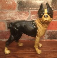 Cast Iron Boston Terrier Dog Right-Facing Vintage Door Stop Coin Bank