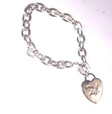 Bracelet Chaîne Pendentif Cœur Signé Dali Métal Argenté N•2