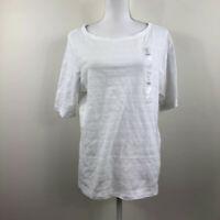 Charter Club Womens Top Boatneck Elbow Sleeve Pima Textured White Plus Sizes