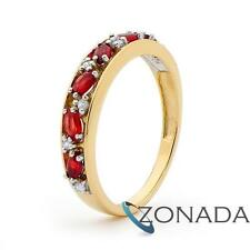 Classic Natural CREATED Diamond Ruby AND 9k 9ct Solid Yellow Gold Journey Rings
