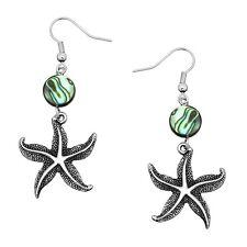 Textured Starfish Fashionable Earrings - Fish Hook - Abalone Paua Shell