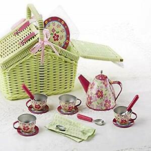 Tin 18pc Tea Set in Basket Sorrel