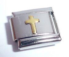 Italian Charm Cruz De Oro-Faith Love Hope se adapta Classic Tamaño Pulseras N207 9mm