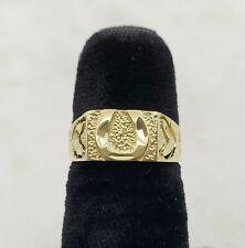 14K Yellow Gold Unisex Ring w/ Horse Shoe Design
