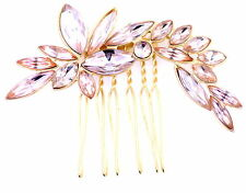 Gold and pink crystal flower / leaf hair clip / slid