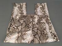 CACHE Women's Brown-Tan-Khaki Snakeskin Print Capri Crop Pants Sz.0-Cotton Blend