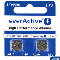 2 x everActive AG10 LR54 Alkaline batteries LR1130 189 389 1.5V GREAT VALUE
