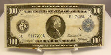 1914 US $100 Dollar Federal Reserve Note Paper Money ~ Very Fine