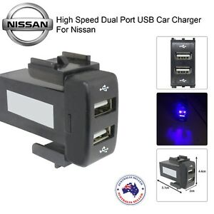 New Dual Port USB Power Socket Charger Adapter for NISSAN for Car