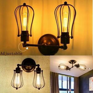 Vintage Industrial Indoor Sconce iron Metal Lamp Retro Wall Lights Fittings E27