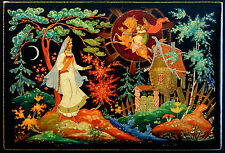 1966 vintage soviet russian hand painted palekh lacquer box, Palekh. BIG SIZE!