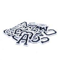 Varsity Letter Iron On Patch/Badge/Applique/Transfer A-Z Alphabet Black/White