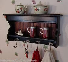 "24"" Handcrafted MILK PAINT Wood Coat Rack, Kitchen Display, Wall Key Hooks Black"