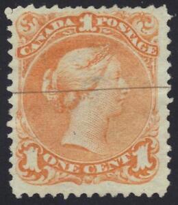 CANADA 1868 1¢ YELLOW ORANGE Sc. #23 ONE LINE CANCEL VERY SMALL THIN UNDER HINGE