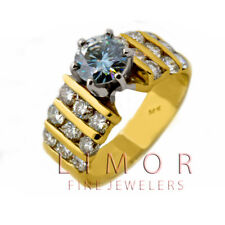 2.09 CARATS CERTIFIED NATURAL DIAMOND ENGAGEMENT RING 14K YELLOW GOLD VINTAGE