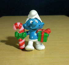 Smurfs 20207 Christmas Candy Cane & Gift Smurf Present Vintage Figure PVC Toy