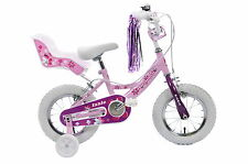 "Izzie 12"" Wheel Pretty Pink Girls Bike & Dolly Seat Streamers Stabilisers Age 3+"