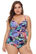 NEW 2019 Women Sexy Swimsuit Plus Size Pattern Print Ruffle Two Piece Swimwear