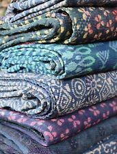 Vintage Block Print Kantha Throw Twin Reversible Quilts Sari Patchwork India