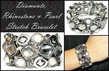 LARGE DIAMANTE RHINESTONE PEARL BRACELET BANGLE Fashion Jewellery Stretch Silver