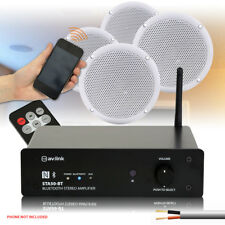 """4 Skytec 5"""" Home Hifi Outdoor Speakers Wireless Compact Bluetooth Amplifier 320W"""