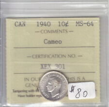 1940 CANADIAN 10 CENT COIN ICCS MS-64 CAMEO