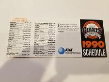 San Francisco Giants 1990 MLB Baseball Pocket Schedule - AT&T